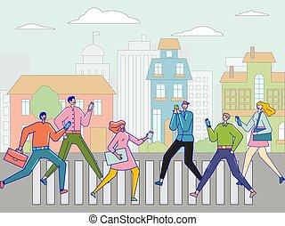 7, mondiale, 24, social, communication., life., numérique, ligne, réseau