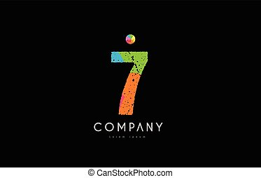 7 number grunge color rainbow numeral digit logo