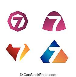 7, numero sette, logotipo, simbolo, icona