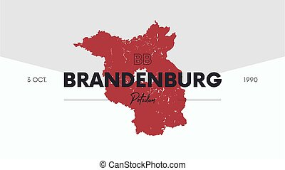 7 of 16 states of Germany with a name, capital and detailed vector Brandenburg map for printing posters, postcards and t-shirts