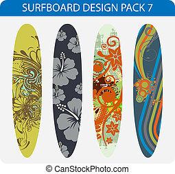 7, paquete, tabla de surf, diseño