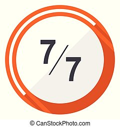 7 per 7 flat design vector web icon. Round orange internet button isolated on white background.