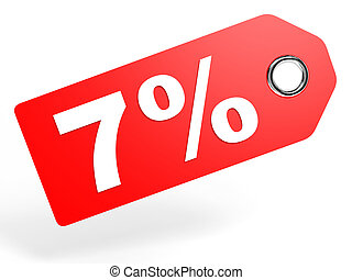 7 percent red discount tag on white background.