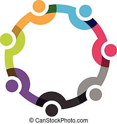 7 personnes, social, réseau, groupe