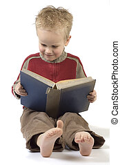 7, ragazzo, libro, lettura