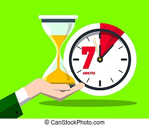 7 Seven Minutes Clock Vector Flat Design Time Symbol with Hourglass