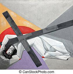 7, stations, van, de, kruis, jesus, dalingen, de, tweede,...