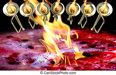 7 trumpets with fire flames and red water