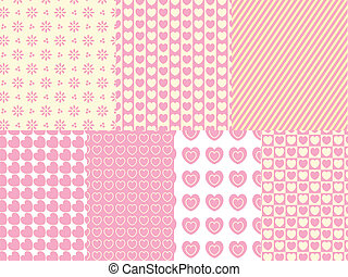 7 Vector Heart and Eyelet Backgrou - 7 Vector heart and...