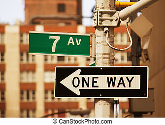 7, viale, segnale stradale, in, new york, -, manhattan