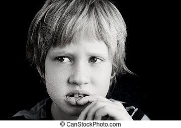 7, viejo, lindo, retrato, niño, años