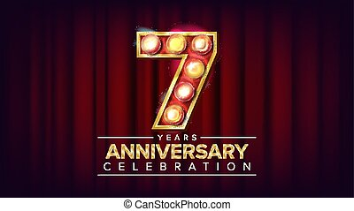 7 Years Anniversary Banner Vector. Seven, Seventh Celebration. Shining Light Sign Number. For Birthday Poster Template Design. Classic Red Background Illustration