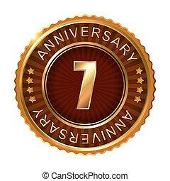 7 years anniversary golden brown label.