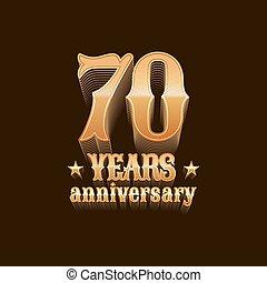 70, év, évforduló, vektor, jel