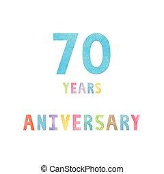 70, celebração, cartão aniversário, anos