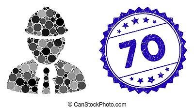 70, détresse, icône, timbre, ingénieur, mosaïque