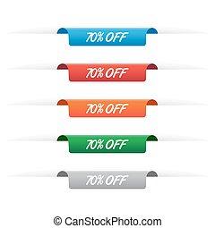 70%, de, etiqueta de papel, etiquetas