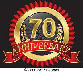 70, doré, anniversaire, années