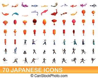 70, estilo, conjunto, iconos, caricatura, japonés