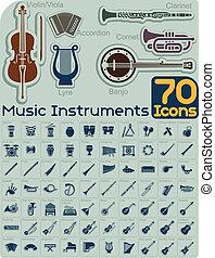 70, instrumentos música, ícones, vetorial, s