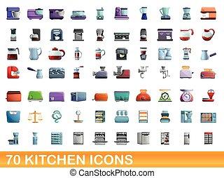 70 kitchen icons set, cartoon style