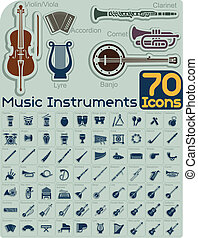Extensive music instruments icons collection organized by type. File type: vector EPS AI8 compatible. No transparencies and no gradient fills.