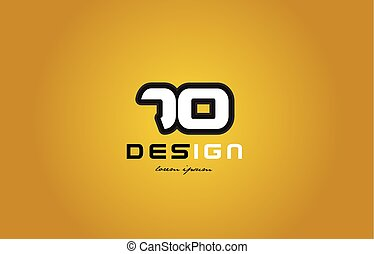 70 number numeral digit white on yellow background