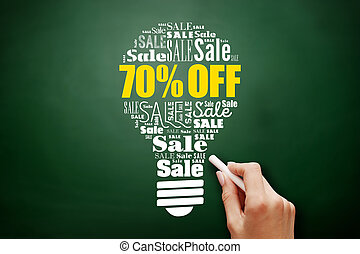 70% OFF sale bulb word cloud collage on blackboard