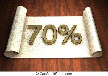 70 per cent, golden numbers, over open paper, 3d rendering