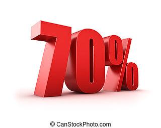 70 percent - 3D Rendering of a seventy percent symbol