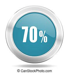 70 percent icon, blue round glossy metallic button, web and mobile app design illustration