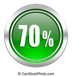 70 percent icon, green button, sale sign