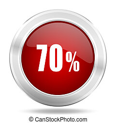70 percent icon, red round glossy metallic button, web and mobile app design illustration