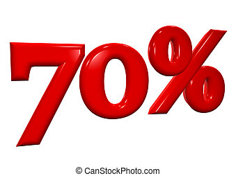 70 percent in red letters on a white background