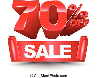 70 percent off sale red ribbon