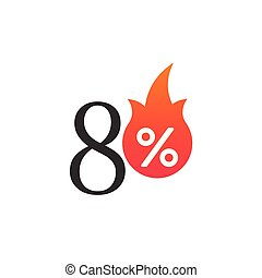 70 percent off with the flame, burning sticker, label or icon. Hot Sale flame and percent sign label, sticker. special offer, big sale, discount percent off. Vector illustration isolated on white background