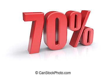 70 percent sign - Red 70% percentage rate icon on a white...