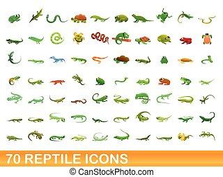 70 reptile icons set, cartoon style