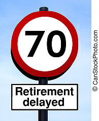 70, retiro, roadsign, retrasado