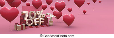 70 Seventy percent off - Valentines Day Sale horizontal 3D-banner with copy space.