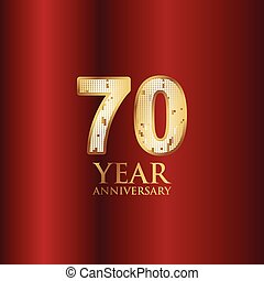 70 Year Anniversary Gold With Red Background Vector Template Design Illustration