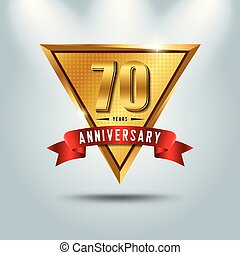 70 years anniversary celebration logotype. Golden anniversary emblem with red ribbon. Design for booklet, leaflet, magazine, brochure, poster, web, invitation or greeting card.