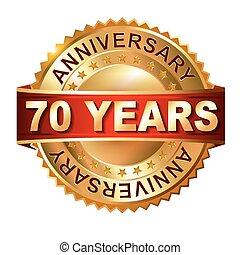 70 years anniversary golden label w