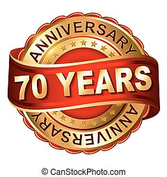 70 years anniversary golden label