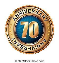 70 years anniversary golden label.