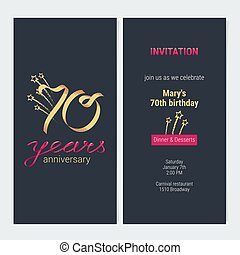 70 Years Anniversary Invitation Card Vector