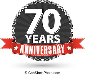 70 years anniversary retro label with red ribbon, vector illustration
