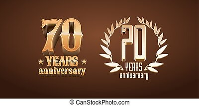 70 years anniversary set of vector logo, icon, number