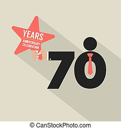 70 Years Anniversary Typography Design Vector Illustration