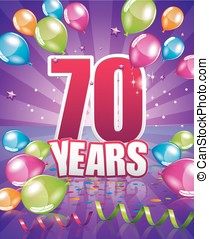 70 years birthday card full vector elements